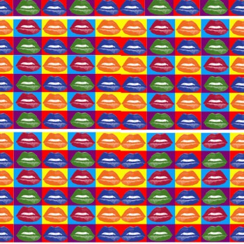 TELA BOCAS WARHOL | Tela diseñada a partir de fotografías originales de Pespunteando.  Disponible en: Popelín vestidos, popelín strech, popelín ligero, sarga gabardina, sarga lycra, sarga, lino, lino ( 56% 44 / lino 44% algodón ), crepe de seda china, lona, camiseta, muselina, lona  y gasa.