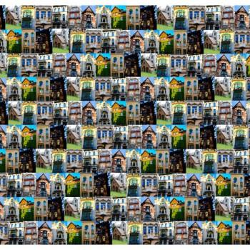 TELA FACHADAS | Tela diseñada a partir de Fotografías originales de Pespunteando.  Disponible en: Popelín vestidos, popelín strech, popelín ligero, sarga gabardina, sarga lycra, sarga, lino, lino ( 56% 44 / lino 44% algodón ), crepe de seda china, lona, camiseta, muselina, lona  y gasa.