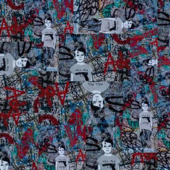 TELA KILL ALL | Tela diseñada a partir de fotografías originales de Pespunteando  Disponible en: Popelín vestidos, popelín strech, popelín ligero, sarga gabardina, sarga lycra, sarga, lino, lino ( 56% 44 / lino 44% algodón ), crepe de seda china, lona, camiseta, muselina, lona  y gasa